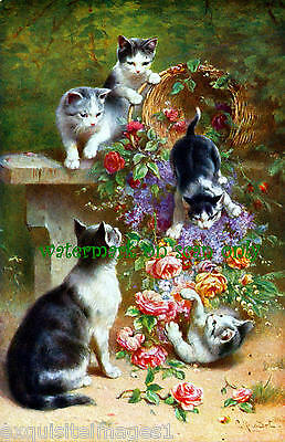 1915 C.Reichert~Mischievous Cats Topple Flower Basket~Roses~ NEW Lg Note Cards