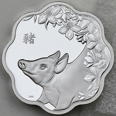 2019 $15 Year of the Pig - Chinese Lunar Zodiac, Lotus Shaped Pure Silver Proof