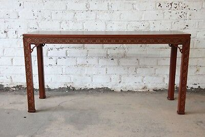 Fine Carved Mahogany Chinese Chippendale Hall Table by Kindel