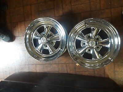 """Crager SS Wheel 15""""x6"""" 5on5 Pair Had Tires Mounted Very Clean"""