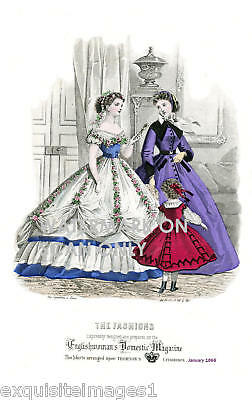 1866 Englishwomans' Mag Fashions~ NEW Large Note Cards