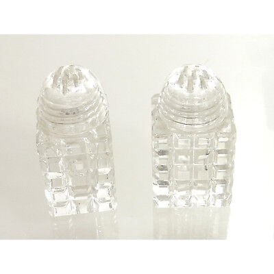 Vintage Glass Crystal Dome Top Salt Pepper Shakers Square Cut Clear