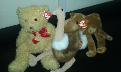 """3 Ty Original Beanie Buddy Lot 16"""" TAGS Mint Condition Babies Baby Classic"""