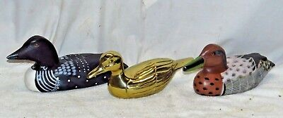 Lot Of 3 Vintage Wooden Brass Decorative Duck Decoys Loon 35 88