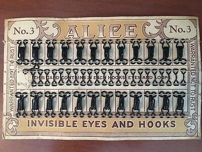 VINTAGE Hooks and Eyes Original Card Clasp Button Closure Sewing No.3