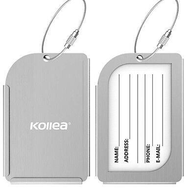 Set of 2 Kollea Silver Aluminum Luggage Tags Suitcase Carry On Baggage Travel