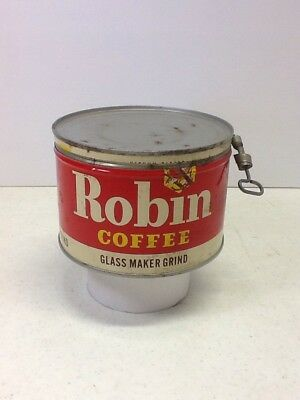 Vintage ROBIN Coffee Tin Can 1 LB, Glass Maker Grind with LId and Key
