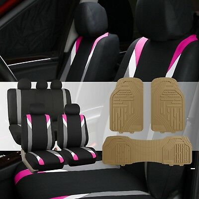 Modernistic Pink/Black Car Seat Covers with Classic Rubber Trimmable Floor Mats