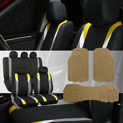 Modernistic Yellow/Black Car Seat Covers with Classic Rubber Trimmable Floor Mat