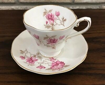 Vintage Pink Floral Royal Grafton Tea Cup and Saucer Hand Painted