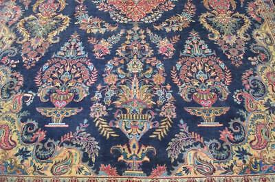 9'7x12'7 Masterpiece 1930s Signed Genuine Antique Persian Kashmar Vase Bird Rug
