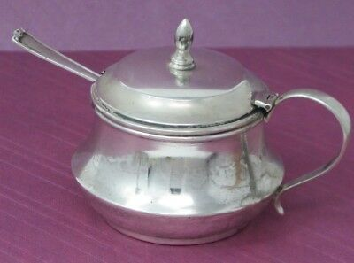 US Antique STERLING  Mustard Condiment lidded pot w .925 WEBSTER SILVER spoon