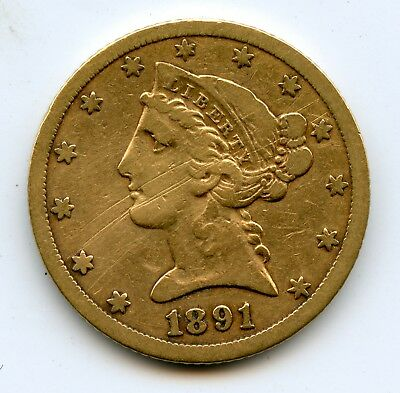 Genuine 1891-CC US $5 Liberty Gold Coin | Fine Details