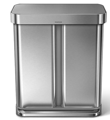 simplehuman 58 Liter/15.3 Gallon Step Can Liner Pocket, Brushed Stainless Steel