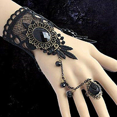 Victorian Gothic Lolita Black Lace Slave Bracelet Rose Chain Beaded Costume G
