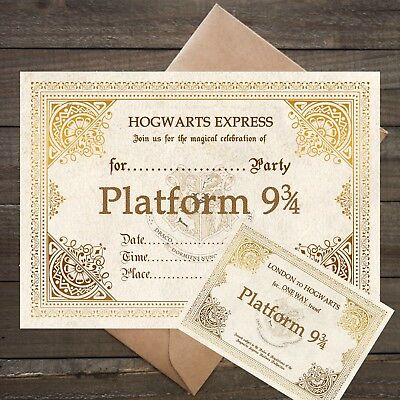 Harry Potter Platform 9 3/4 Party Invitations - 12 Card Invites + Envelopes