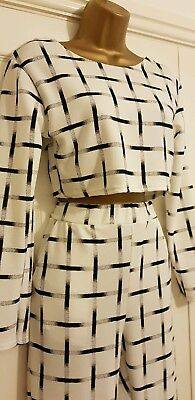 Bnwt Ladies Black And White Top & Trouser Suit Size 10 By Dolls