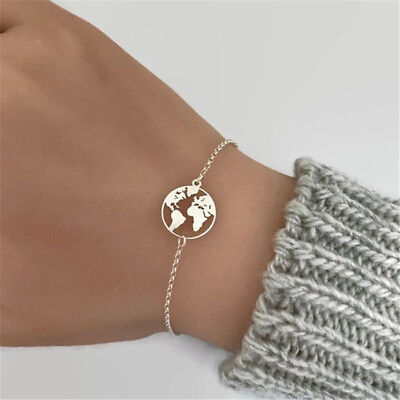 Handmade Gold World Map Chain Bracelet For Women Fashion Jewelry G