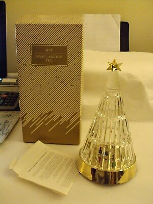 "Vintage 1990 Avon Crystal Glass Holiday Tree Battery Operated * 8"" Tall - In Box"