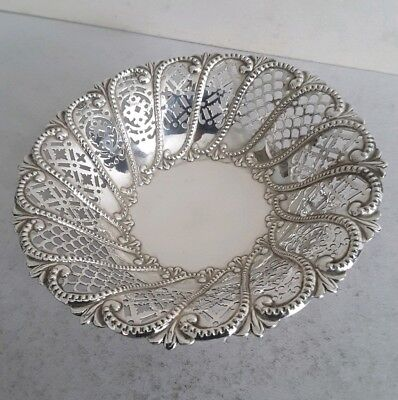 Pretty,  Embossed & Pierced Antique Solid Silver Pedestal Dish.     Sheff. 1894.