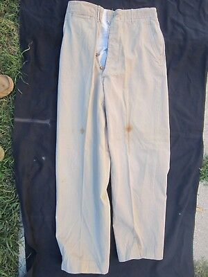 WWII US Army Military Khaki Trousers button fly named Kennedy. Size 32 x 33