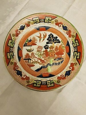 antique RIDGWAYS GAUDY WILLOW  DINNER PLATE  often described as coloured willow