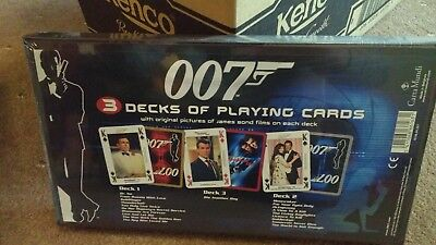 007 JAMES BOND (sealed) boxed set of 3 packs PLAYING CARDS+3 extra packs