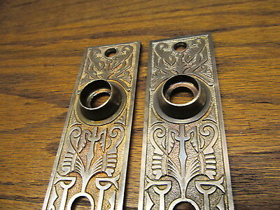 "Pair Brass ?? Bronze ? Eastlake ? Door Plates..escutcheons..ornate "" Arabic "" ?"