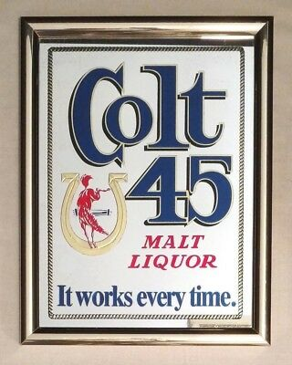 Vintage Colt 45 Heileman Brewing Company Beer Man Cave Advertising Mirror Sign