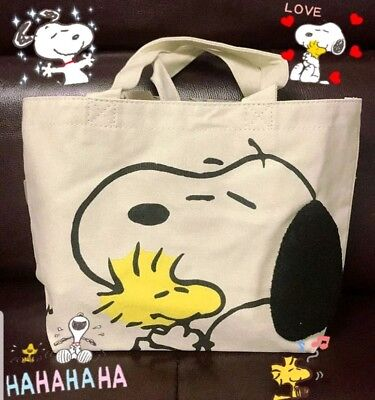 New Peanuts Snoopy Natural Off White Canvas Small Tote Bag 3D Ear Japan NWT