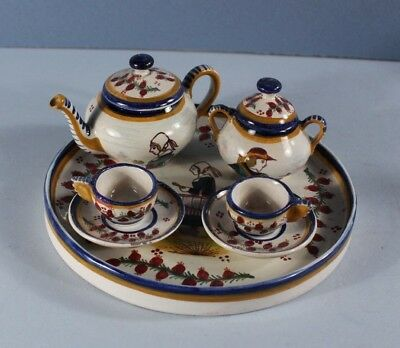 RARE MINIATURE French Faience HB QUIMPER TOY Tete a Tete  DOLL's TEA SET w TRAY