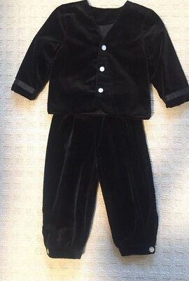 Toddler Boy 4t Black Velvet Suit Holiday Christmas Outfit Vintage