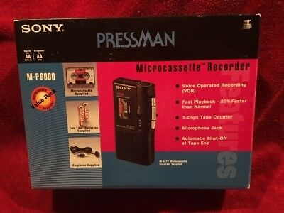 Sony Pressman M-627V Micro Cassette Recorder New-In-Box Bundle