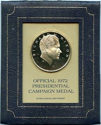 Sterling Silver Proof 1972 Official Presidential Campaign Medal - Richard Nixon