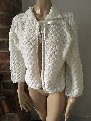 Vintage Retro 60s 70s white bed jacket morning gown lounge cardigan Mod M L