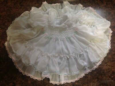 Vintage Polly Flinders size 0-3 Months White ribbons, ruffles Smocked Baby Dress