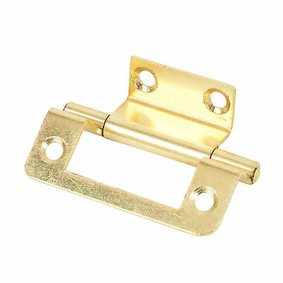 2 x ELECTRO BRASS PLATED DOUBLE CRANKED HINGES 35 X 50MM - HG9557 - NEW