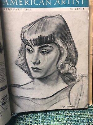1944 Bound AMERICAN ARTIST MAGAZINES 10 Issues Complete Year