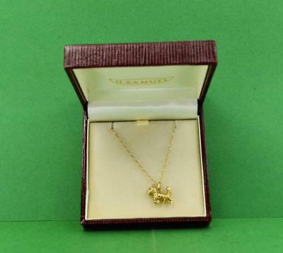 "vintage Ladies 9 ct gold Scottie dog Pendant & 18 ""chain marked 375 boxed"