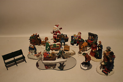 Vintage Lot Of Christmas Village Accessories,figures, Ice Rink, Bench, Santa Orn