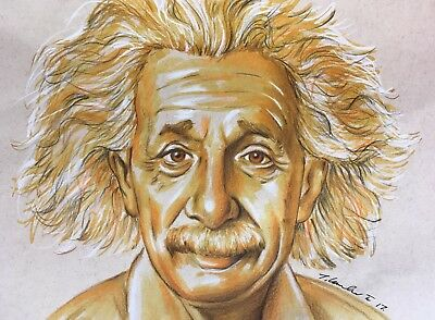 Albert Einstein new Original pen & pencil Drawing.Fan-ART 2017