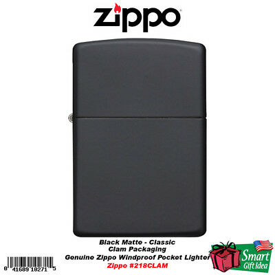 Zippo Classic Matte Black, Genuine Windproof Lighter, Clam Package #218CLAM