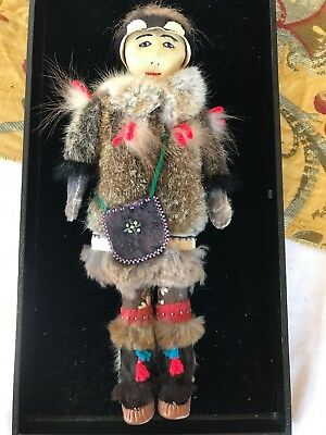 "Vintage Native American Indian Leather Doll 11"" Great Condition Inuit? Eskimo?"