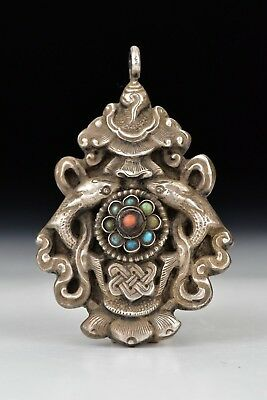 18th / 19th century Middle Eastern Sterling Silver Pendant w/ Turquoise & Coral