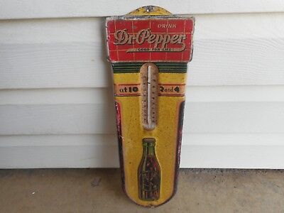 Rare 1939 Dr. Pepper Embossed Tin 10-2-4 Thermometer Sign