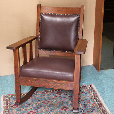 Antique Arts and Crafts Era Mission Style Oak Rocking Chair Padded Back Cushion