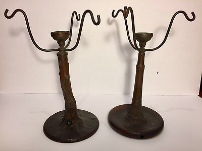 (2) Handel Marked Antique Bronze Lamps - need to be wired