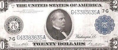 Sharp Type-A Chicago 1914 $20 Large Federal Reserve Note No Reserve Auction