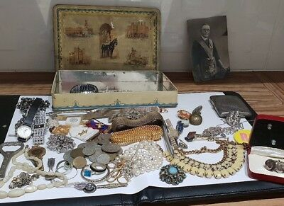 Job Lot Antique Vintage Jewellery Sterling Silver 925 Coins Stones Masonic Items