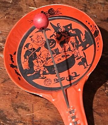 Old 1920s J Chein Antique Halloween Party Bobbing for Apples Noisemaker Clapper